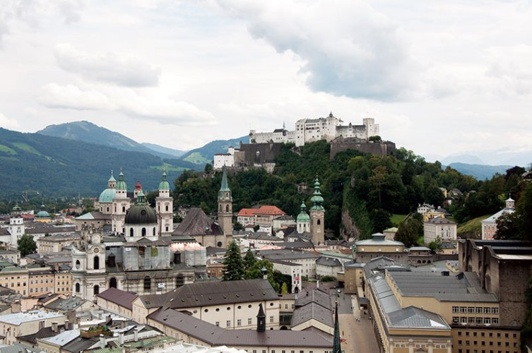 The medieval Hohensalzburg Fortress overlooking the city of Salzburg