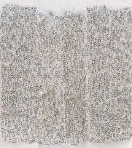 Cataract II, 2011, staple on rice paper