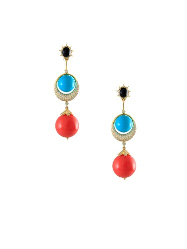 Hanut Singh's Aztec Earrings Turquoise and Coral Ball With Crescent Diamond