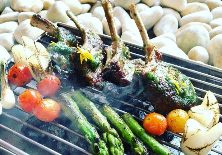 Barbequed lamb chops, braised radish, tender green asparagus