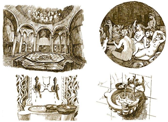 Scenes from ancient Roman bathhouses