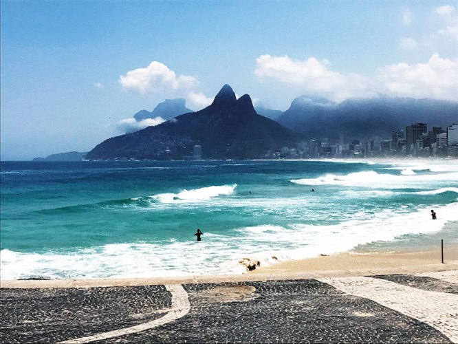 Rio's famous beaches stretch along the Atlantic coastline