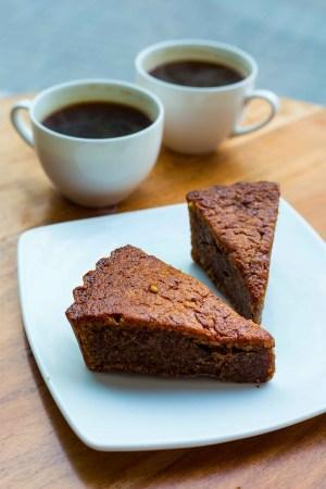 Buckwheat and walnut cake
