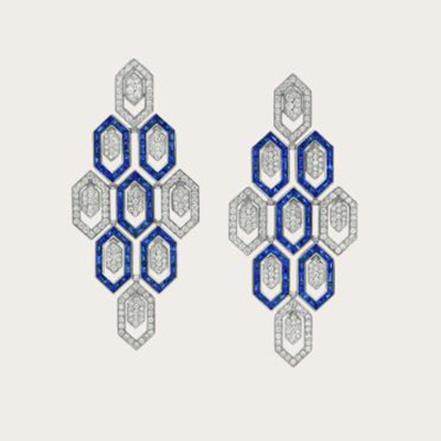 Bulgari Serpenti Inspirations earrings with sapphires and diamonds in white gold