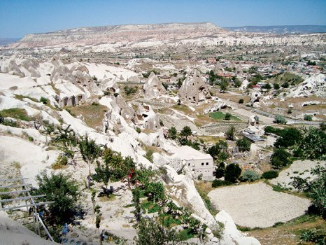 View of cave homes in Goreme Valley, Cappadocia