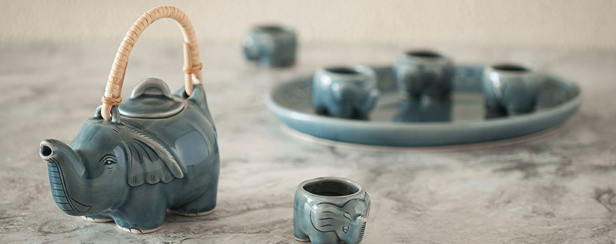 A celadon tea set