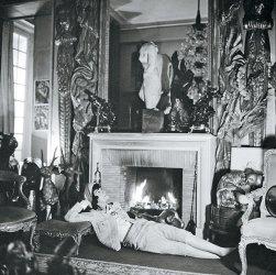 Gabrielle Chanel in her Rue Cambon apartment, circa 1959