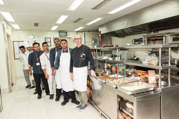 Chef Eric Geoffroy with his team