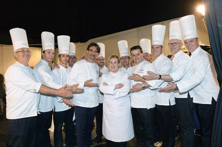 Chef Helene-Darroze with her team