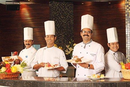 Conjuring gastronomic delights (From left): Chef Pandit, Chef Francis, Chef Joshi, Chef Juancho