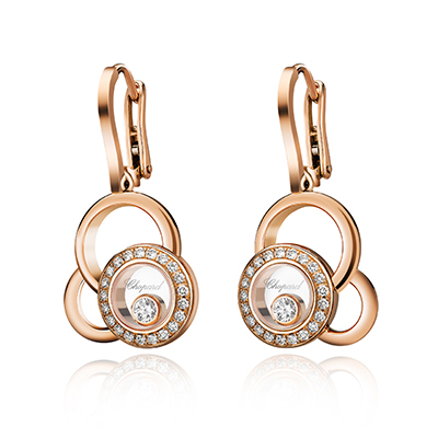 Chopard Happy Dreams earrings with diamonds in 18-carat rose gold