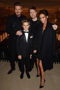 David Beckham, Romeo Beckham, Christopher Bailey, Victoria Beckham