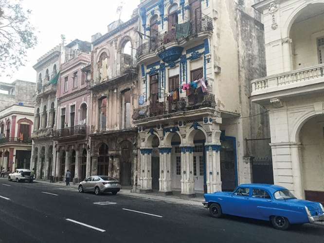 A typical streetscape of Old Havana