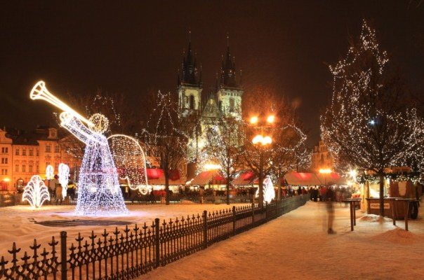 Christmas lights in Old Town Square in Prague, Czech Republic