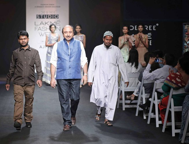 Dharavi artisans Mohammed Ismail Ansari and Shaikh Alam with designer Jay Ramrakhiani at the Culture Lab's Dharavi Design Dialogue at Lakmé Fashion Week
