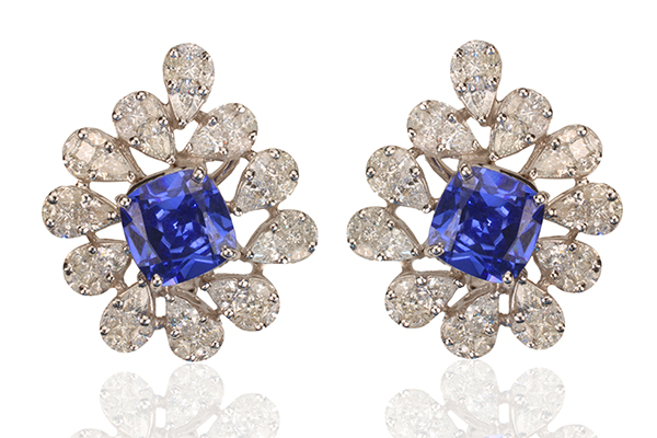Diagold diamond and blue sapphire earrings.