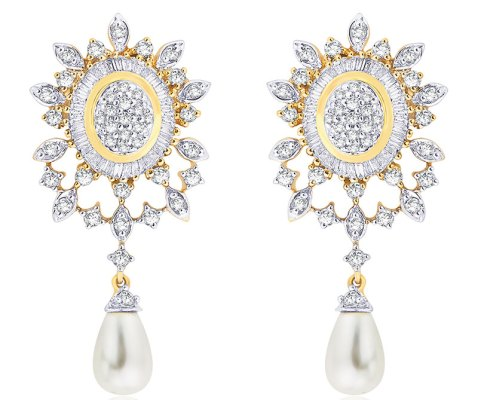Diamond earrings with pearl drops, in 18-carat gold