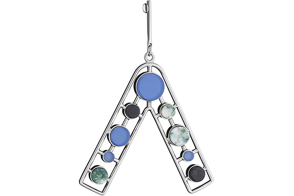Dior Bijoux earrings adorned with blue glass, black marble and green and white tree agate.