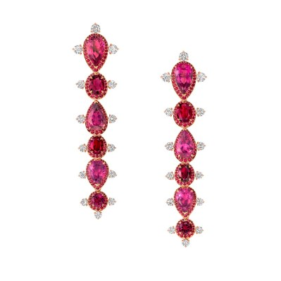 Earrings by Vanleles set with Gemfields Mozambican Rubies