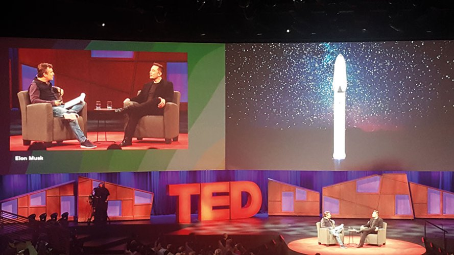 Elon Musk on the TED stage