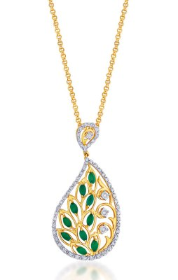 Emerald studded diamond pendant, in 18-carat gold
