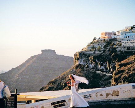 Wedding vows in front of the Santorini sunset