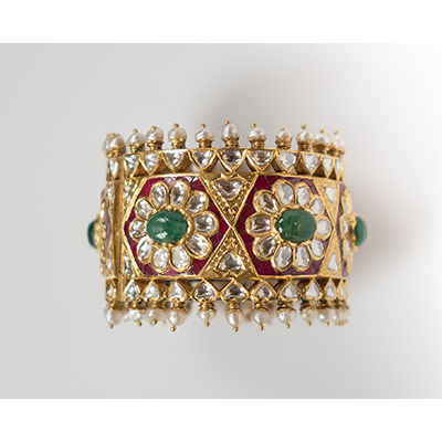 Falguni Mehta cuff with rubies and emeralds