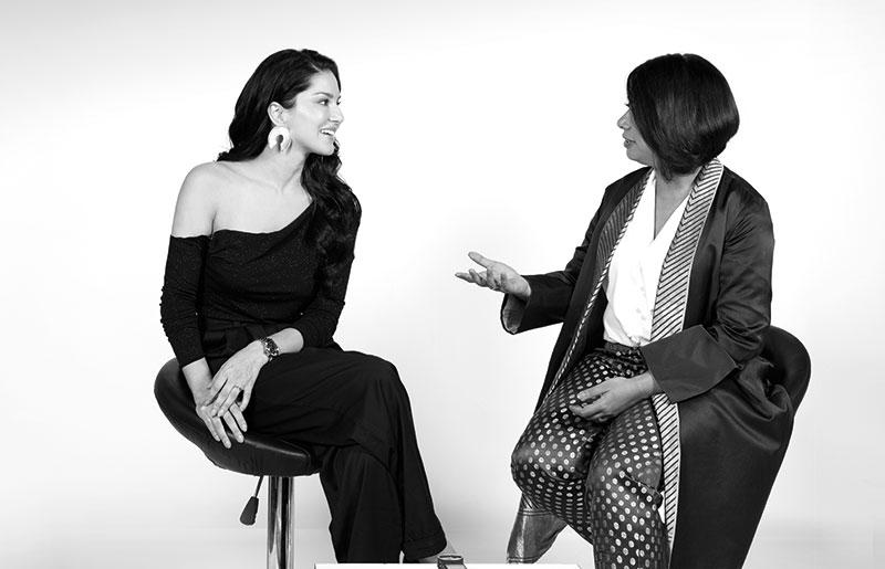 Faye D'Souza and Sunny Leone
