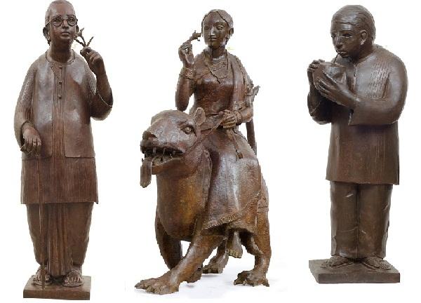 Bronze sculpture by Lalu Prasad Shaw at Gallery 7, Mumbai