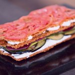 Savoury mille-feuille with spring vegetables and wasabi mousse