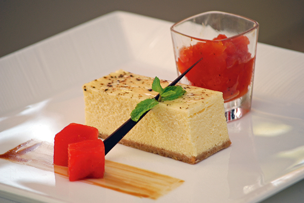 Spiced black pepper cheesecake, Food