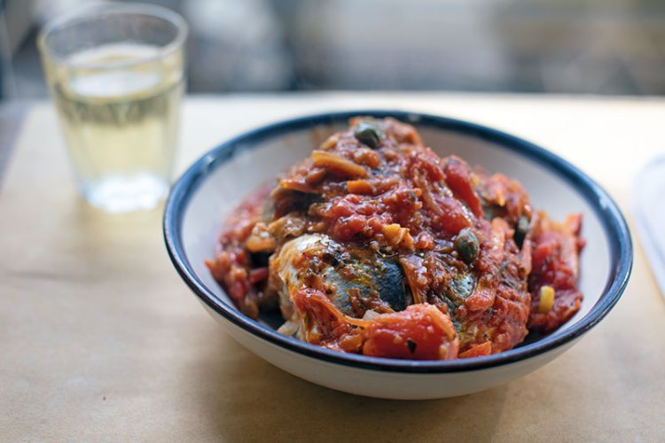 Mackerel With tomatoes, olives and peppers