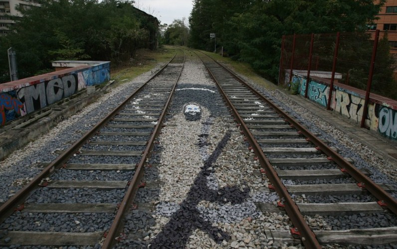Graffiti on the tracks of Petite Ceinture