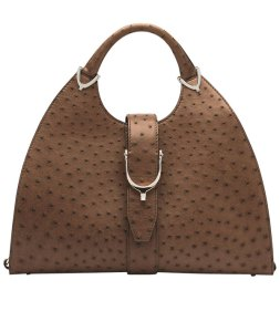 Made to Order Stirrup Bag in Tan Ostrich Leather