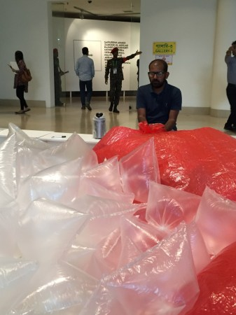 Dhaka based artist Shanad Biwsas is part of the performance pavilion at the Dhaka Art Summit