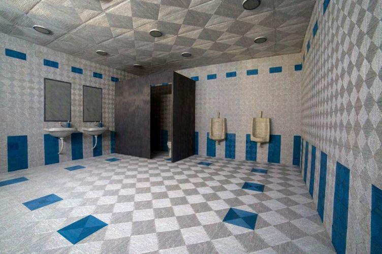 Bathroom Set, 2016, paper and glue, Aspinwall House, Kochi-Muziris Biennale 2016