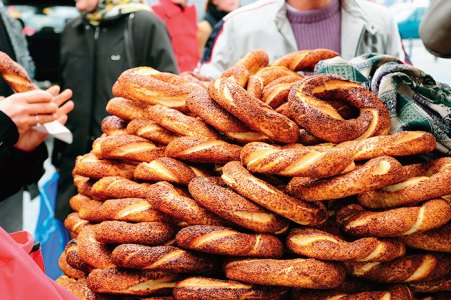 Turkish bagel stand