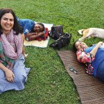 Jasmeen Patheja and other participants at the #meettosleep protest in Bengaluru's Cubbon Park
