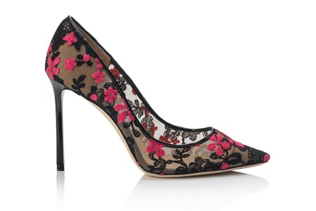 Jimmy Choo embroidered flower lace stilettoes