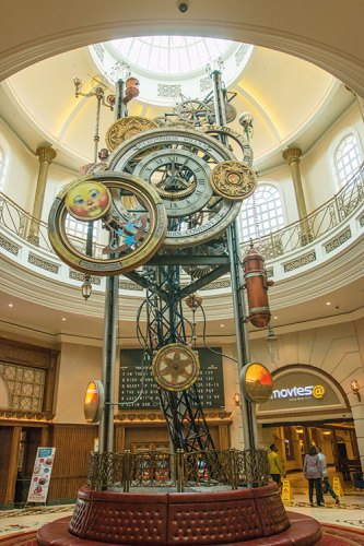 A giant clock is the centrepiece of the lobby at Gold Reef Casino