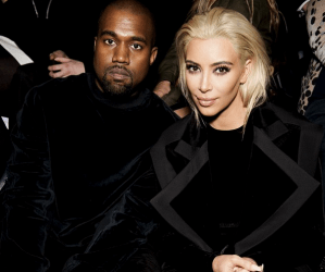 Kanye West and Kim Kardashian at Balmain