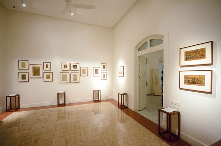 Room displaying Mughal and Deccan paintings