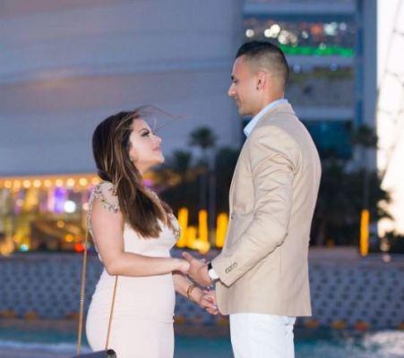 Kaushal with her fiancé Vex