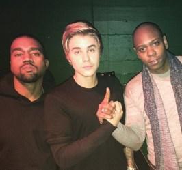 Kanye West, Justin Beiber, Dave Chappelle at Kanye West x Adidas