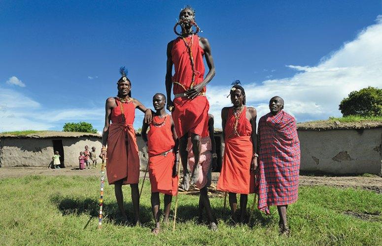 Maasai in traditional garb