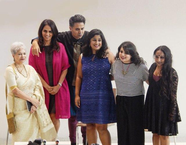 Laila Tyabji, Anita Dongre, Parmesh Shahani, Nisha Susan, Mallika Dua, Sharanya Manivannan at the LFW event on the Godrej India Culture Lab premises