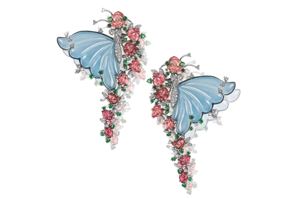 Mirari Butterfly Pavilion earrings with onyx and tourmaline carving set in gold.