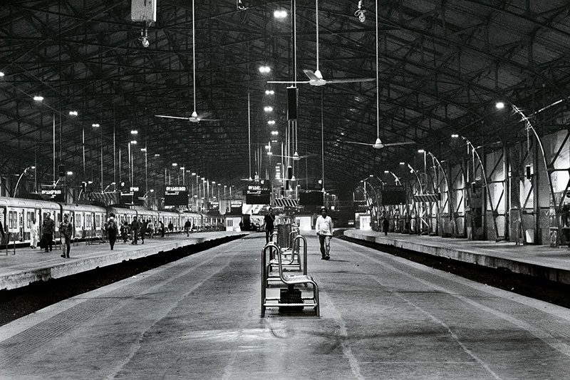 Churchgate railway station, the southernmost terminus on the Western line of the Mumbai Suburban Railway.