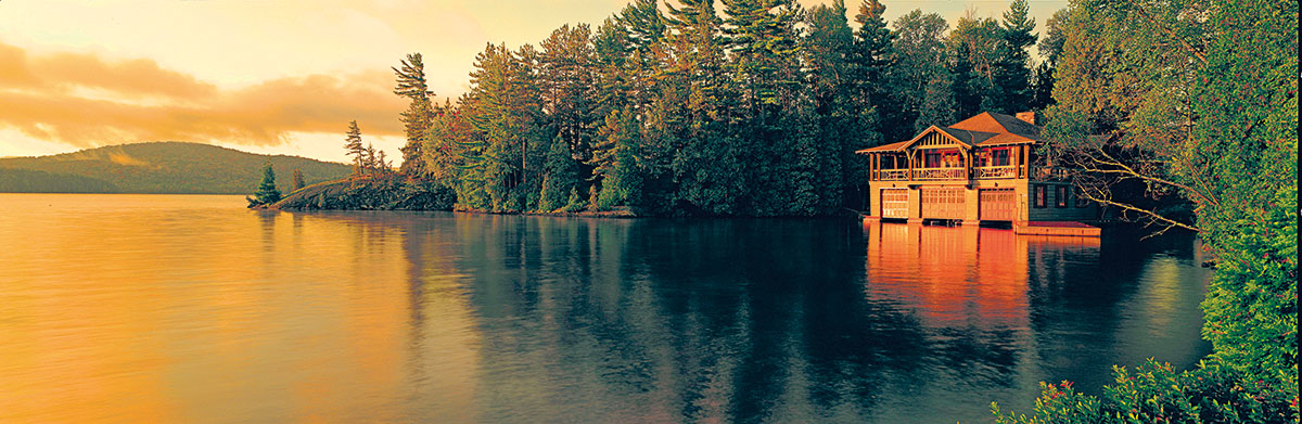 The grand vista from the boathouse on the Upper Saranac lake
