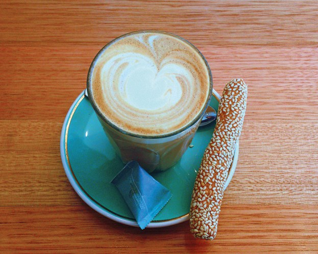 Flat white coffee at Mojo